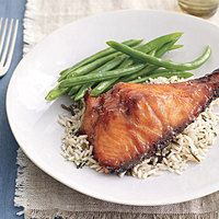 My favorite Salmon . . . restaurant quality . . . has never failed me! Brown Sugar Mustard Glazed Salmon from Rachel Ray.