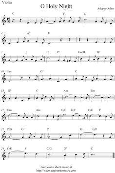 "violin Christmas sheet music~ ""O Holy Night"" in the key of C"