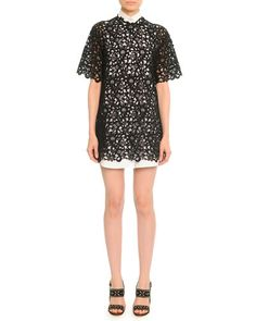 B2TBV Valentino Short-Sleeve Guipure Lace Tunic/Dress, Black