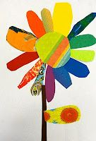 color wheel bouquet ... could expand this lesson and have kids make a warm flower, a cool flower, a complementary flower, etc.