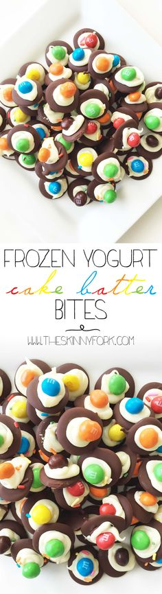 - Frozen Yogurt Cake Batter Bites Frozen Yogurt Cake Batter Bites – De{light}ful little bites of crispy chocolate rainbow heaven! Frozen Desserts, Just Desserts, Delicious Desserts, Dessert Recipes, Yummy Food, Tasty, Yummy Treats, Sweet Treats, Eat Dessert First