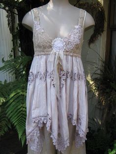 Vintage Kitty... cami dress.. battenburg, coffee and crearm.. shabby chic,  med - large. $179.00, via Etsy.