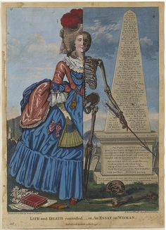 """kirgiakos: """" artgalleryofontario: """" Life and Death Contrasted - or, An Essay on Woman, 1794 Robert Dighton (British) Print, hand-coloured etching on laid paper, 35 x cm Gift of the Trier-Fodor. Art Day, Macabre Art, Vintage Art, Toronto Art Gallery, Danse Macabre, Time Art, Art, La Art, Gothic Images"""