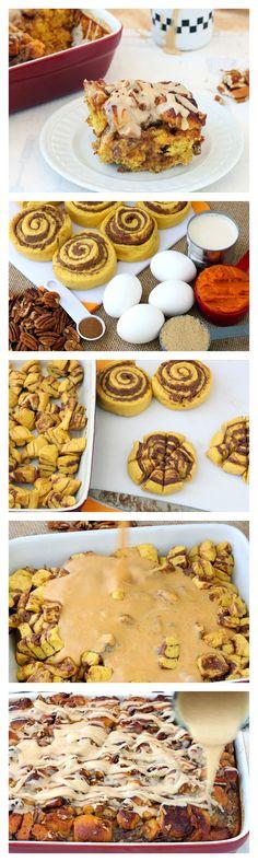 Pumpkin Pie Breakfast Bake is made with Pillsbury Grands! pumpkin spice rolls with icing!