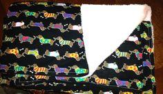 Dachshund print baby blanket $40 #Dachshund #BabyBlanket #NanasKidsDesigns #doxie #doxielove