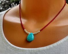 Red coral and turquoise necklace turquoise pendant coral necklace gemstone necklace red beads ne Collier Turquoise, Coral Turquoise, Turquoise Pendant, Turquoise Jewelry, Red Coral, Teen Necklaces, Handmade Necklaces, Handcrafted Jewelry, Unique Jewelry