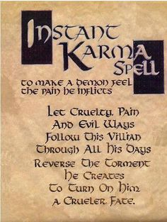"Book of Shadows: ""Instant Karma Spell."" by sharonsparkles Book of Shadows: ""Instant Karma Spell."" by sharonsparkles This image has get. Magick Spells, Wicca Witchcraft, Curse Spells, Dark Spells, Voodoo Spells, Healing Spells, Wiccan Protection Spells, Wiccan Spells Love, Witch Spells Real"