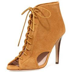 SJP by Sarah Jessica Parker Marci Suede Lace-Up Open-Toe Bootie (370 CAD) ❤ liked on Polyvore featuring shoes, boots, ankle booties, heels, brown, suede ankle boots, ankle boots, brown suede booties, lace-up ankle boots and high heel bootie