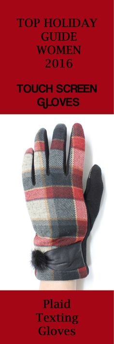 New Men Gloves Plaid Faux Leather Plush Lining Warm Driving Glove Touch Screen