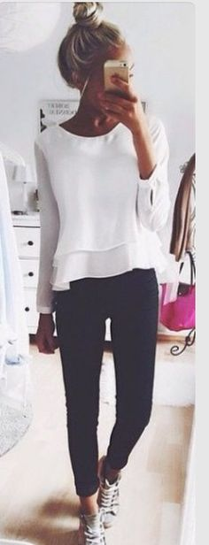 """Flowy tops like this are so """"me"""" I love tops with feminine touches paired with edgy accessories."""