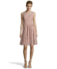 Wyatt dark pink cotton blend floral lace sleeveless fit-and-flare dress | BLUEFLY