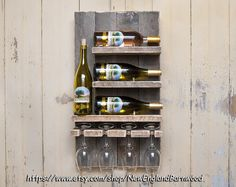 WINE RACK WALL Mounted, Unique Wine Racks, Wine Glasses, Wall Mount Wine Rack, Reclaimed Wood Wine Rack, Wood Wine Rack, Wall Wine Rack