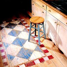 Floor Show - great country, rustic or cottage look...painted rug floor accent
