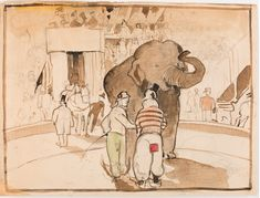 #Harry #Epworth #Allen At the #circus, two #clowns and an #elephant  #Watercolour over #pencil #art #drawing #British #LLFA #modern