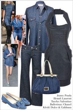 Angesagte Jeans-Looks für jeden Tag. Jeanshemd: #SaintLaurent  Kleid: #dolcegabbana  Tasche: #valentino  Jeans: #Prada  Ballerinas: #Chanel  #mymint