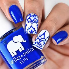 """Bags are Packed <br> """"On this holiday, I want blue everything. True blue skies, true blue water, and true blue nails!"""" ELITE Collection Nail polish bottle ml - fl oz Blue And White Nails, White Nail Art, Cobalt Blue Nails, Turqoise Nails, Winter Nails, Spring Nails, Elephant Nails, Cute Nails, My Nails"""