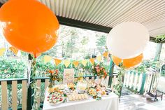 In the Orange Garden — Elk Prints - Big Balloons, Mylar Balloons, Baby Shower Themes, Baby Shower Decorations, Shower Ideas, Orange Party, Sweet 16 Parties, Baby Party, Party Time