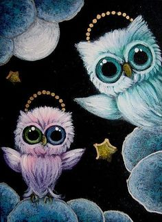 TINY AQUA ANGEL OWL AND TINY VIOLET ANGEL OWL WITH ODD EYES   WELCOME TO HE