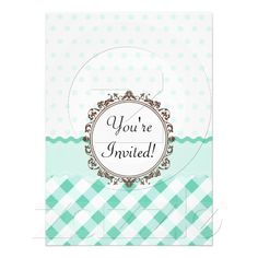 Mint Polkadots, Check and Stripes with Monogram invitations