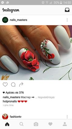 Grey nails & red flower. Pretty nails!