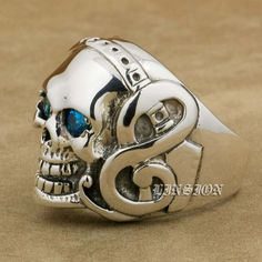 Quality Guitar Music Skull 925 Sterling Silver Blue CZ Eyes Mens Biker Rocker Punk Ring US Size 7 to 15 with free worldwide shipping on AliExpress Mobile Cool Canes, Punk, Men's Jewelry, Dark Side, Jewerly, Piercings, Biker, Guitar, Rings For Men