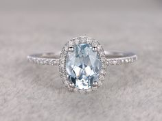 Natural Blue Aquamarine Ring! Engagement ring White gold with Diamond,Bridal ring,14k,6x8mm Oval Cut,Blue Stone Gemstone Promise Ring,Halo by popRing