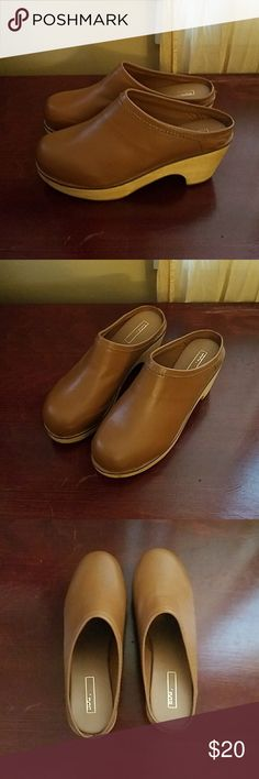 BDG Urban Outfitters Leather Clogs sz 8 New New with out tags/box  BDG Urban Outfitters Leather and wood sole Clogs  Sz 8, tan  Also selling a Reddish ox blood pair! Urban Outfitters Shoes Mules & Clogs