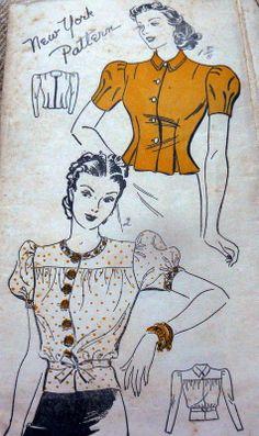 LOVELY VTG 1930s BLOUSES NEW YORK Sewing Pattern 16/34