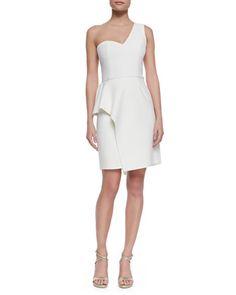 One-Shoulder Faux-Wrap Dress by Halston Heritage at Neiman Marcus #oneshoulder #dress #halston