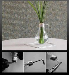 DIY and Crafts: Lamp bulb recycling decor idea. Making a glass vase of used electric bulb. Light Bulb Vase, Light Bulb Crafts, Lamp Bulb, Diy Projects To Try, Crafts To Do, Diy Design, Deco Dyi, Flower Vase Design, Craft From Waste Material