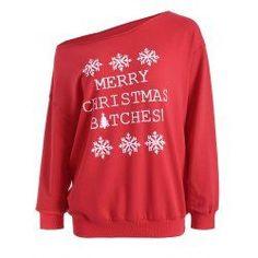 Casual Skew Neck Christmas Pullover Sweatshirt