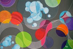 """Colorful Bubbles abstract Painting """" Rain on the Boardwalk """""""