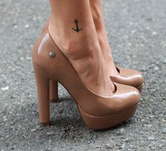 Simple Anchor Ankle Tattoo and love the shoes