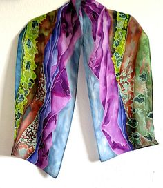 Landscape series, Number 1: Rocky Mountain Habotai scarf, 11x60in Painted Silk, Hand Painted, Fabric Painting, Silk Scarves, Fashion Forward, Fiber, Kimono Top, Mountain, Landscape