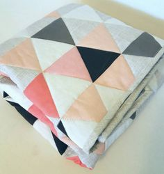 Coral Ombre Crib Quilt https://www.etsy.com/listing/239575694/modern-crib-quilt-hamptons-triangles
