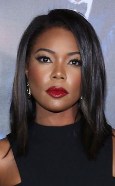 gorgeous Gabrielle Union from Daily Beauty Moment Ahhh—from perfectly arched brows to smoldering ruby lips, there's nothing we don't love about this look! Meagan Good, Natural Hair Styles, Long Hair Styles, African American Hairstyles, Natural African American Hair, African American Makeup, My Hairstyle, Daily Beauty, Brown Skin