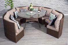 Contemporary 10 Seater Round Dining Table Conservatory Rattan Brown Set Y A K O E Outdoor Garden Sofa Size Measurement Furniture Diameter And Chair Round Garden Table, Round Outdoor Dining Table, Round Dining Table Sets, Dining Table Dimensions, Dining Table Sizes, Garden Table And Chairs, Dining Table Chairs, Outdoor Chairs, Outdoor Decor