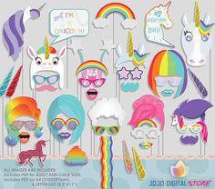 Rainbow Unicorn Photo Booth Props for Rainbow Unicorn Party