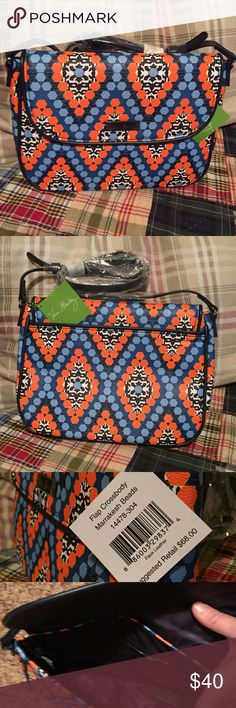 """NWT Vera Bradley Flap Crossbody in Marrakesh Beads Brand new with tags. Beautiful Vera Bradley Flap Crossbody in Marrakesh Beads. 9.25"""" width X 7.75"""" height  X 2"""" depth with a 52.5"""" adjustable strap. Navy blue Vera Bradley logo lining with one zipper pocket and two slip pockets on the inside. One slip pocket on the outside. Magnetic closure. Smoke and pet free home. Save with a bundle! Vera Bradley Bags Crossbody Bags"""