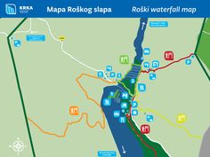 PDF map of the Roški slap with marked trails and legends.