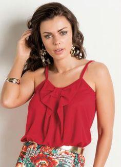 Blusa (Vermelha) com Laço Frontal