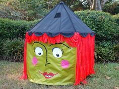 Transform a child's toy circus tent into a witch tent for a Halloween party. http://www.diynetwork.com/how-to/make-and-decorate/entertaining/halloween-lawn-decoration--turn-a-kid-s-circus-tent-into-a-witch-pictures >>
