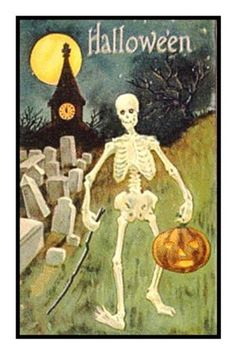 Victorian Halloween Skeleton Pumpkin and Moon Counted Cross Stitch or Counted Needlepoint Pattern