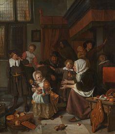 Jan Steen The Feast of Saint Nicholas (Het Sint-Nicolaasfeest) c. 16651668 Rijksmuseum Amsterdam #art #arthistory #dutch #xmas #picoftheday #random #painting #xviiicentury