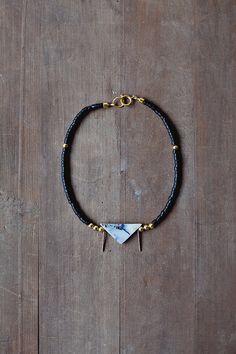 Mixed Media Boho Necklace/ Black Gold Grey Necklace /  Coconut Wood Gemstone Necklace