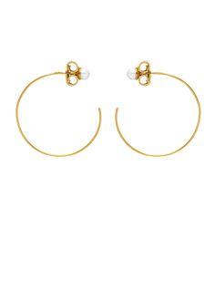 'PRINCESS OF PEARLS' half hoops with pearl stud. Pearl Studs, Hoop Earrings, Jewels, Princess, Bracelets, Silver, Gold, Jewerly, Bracelet