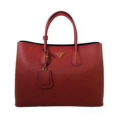 Prada Women's Saffiano Cuir Tote Bag BN2761 F068Z Fuoco (Red)