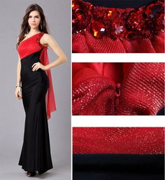Red and Black One Shoulder Fashion Evening Dress