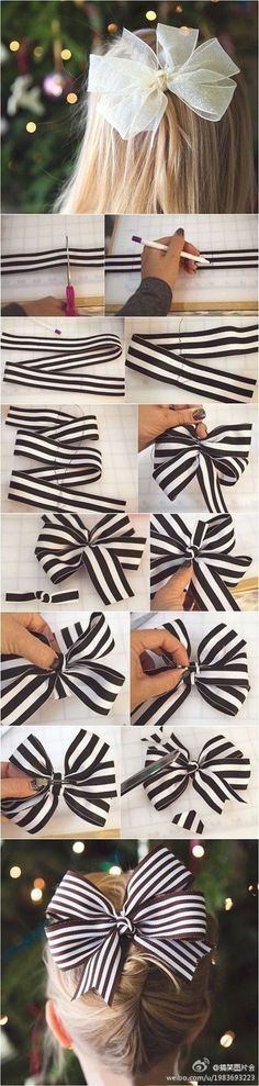 DIY Bow, could use on a gift! Ribbon Hair Bows, Diy Hair Bows, Diy Bow, Diy Ribbon, Ribbon Crafts, Diy Flowers, Fabric Flowers, Hair Bow Tutorial, Diy Tutorial