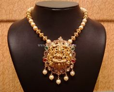 Light Weight Pachi Necklace With Lakshmi Pendant ~ South India Jewels Gold Earrings Designs, Necklace Designs, Jewellery Designs, Gold Designs, Pearl Jewelry, Gold Jewelry, Beaded Jewelry, India Jewelry, Bridal Jewelry